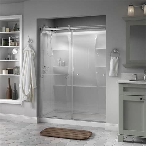 Delta Shower Door Delta Portman 60 In X 71 In Semi Frameless Contemporary Sliding Shower Door In Chrome With