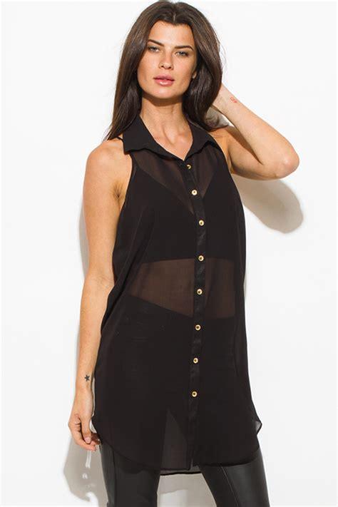 Blouse Mimi Top shop wholesale womens black sheer chiffon button up racer