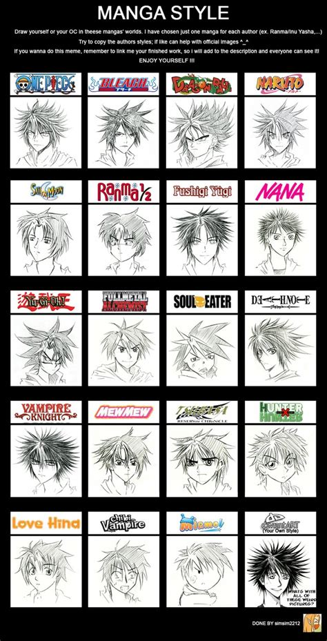 shonen hairstyles shino in 20 different manga styles by heartandvoice on