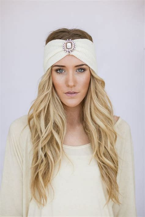 knitted head bangs styles boho headband ivory knit wanderlust bohemian hair bands