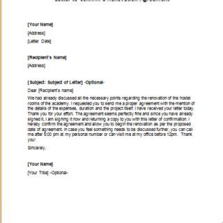 renovation agreement letters writeletter2