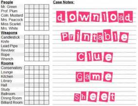Clue Card Template by 7 Best Images Of Printable Board Clue Sheets Clue