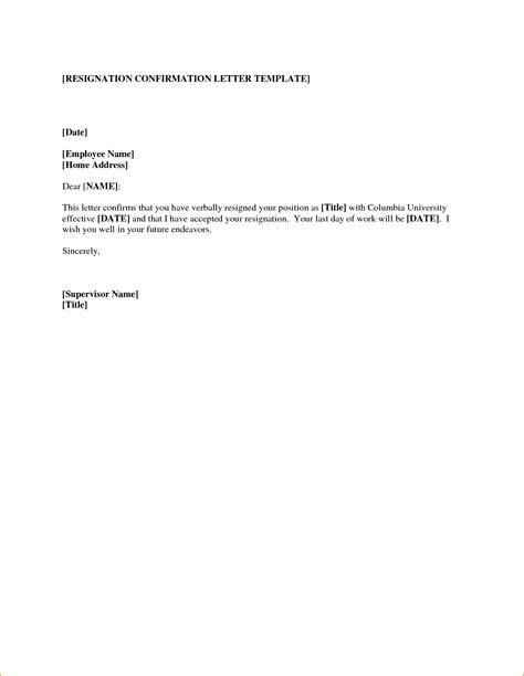 Resignation Letter Outline Letter Of Resignation Templates Questionnaire Template