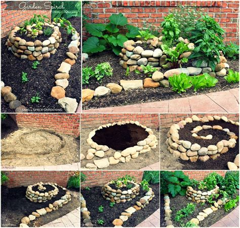 diy create a small vegetable garden using a garden spiral diy craft projects