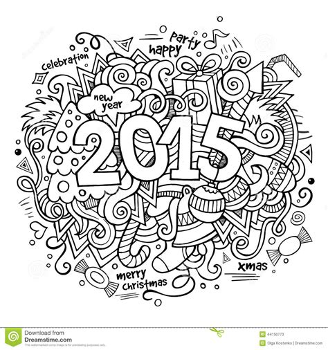doodle for 2015 sign up 2015 year lettering and doodles elements stock vector