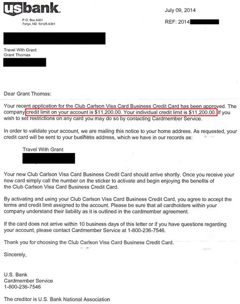 Letter Of Credit From Us Bank Us Bank Club Carlson Biz Approval Letter