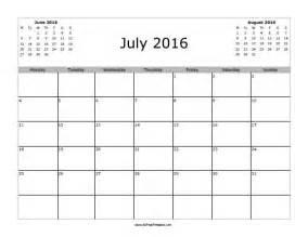 July 2016 calendar free printable allfreeprintable com