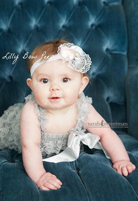 baby clothes newborn clothing gray lace pettie romper baby headband flower