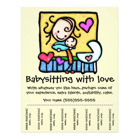 babysitting flyer template with pull tabs by vertex42 com flyers