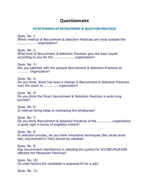 Mba Hr Project Synopsis On Recruitment And Selection by Questionnaire Recruitment Selection Practices