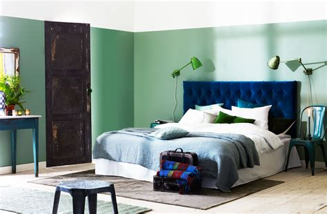 blue tufted bed color blocking bedroom panda s house