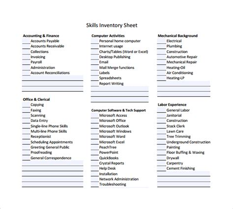 skills inventory template 9 free documents in pdf