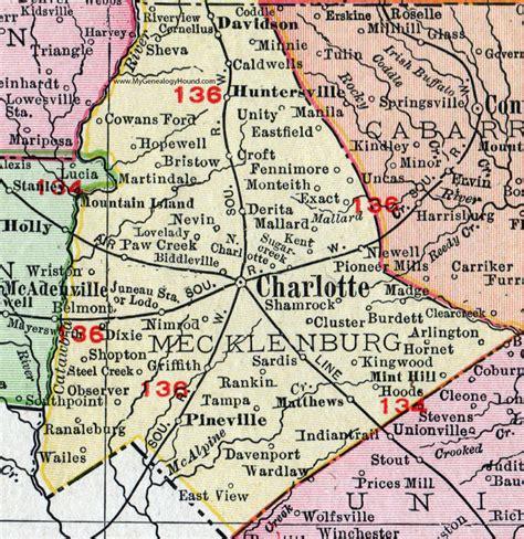 Records Mecklenburg County Nc Mecklenburg County Carolina 1911 Map Rand Mcnally Derita Matthews