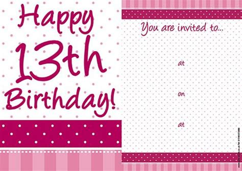 13th birthday card template pretty pink 13th birthday invites pack of 8