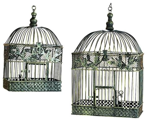 bird cages silver intricate lattice floral patio