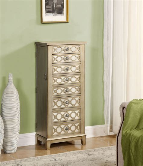 gold jewelry armoire cadia metallic gold jewelry armoire 91792 coast to coast