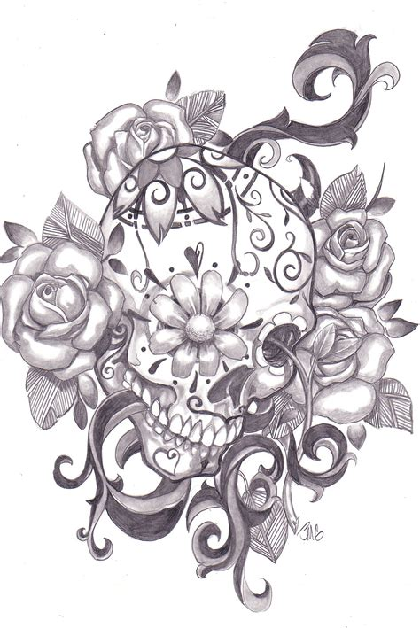 sugar skull tattoo designs tumblr flower skull drawing pencil drawing collection