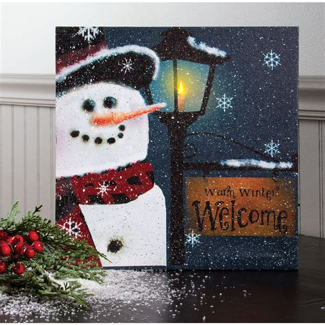 lighted christmas canvas art snowman welcome lighted canvas winter lighted wall art