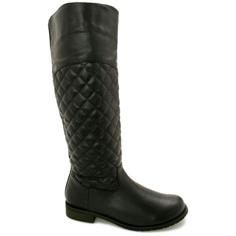 buy low heel quilted knee high boots