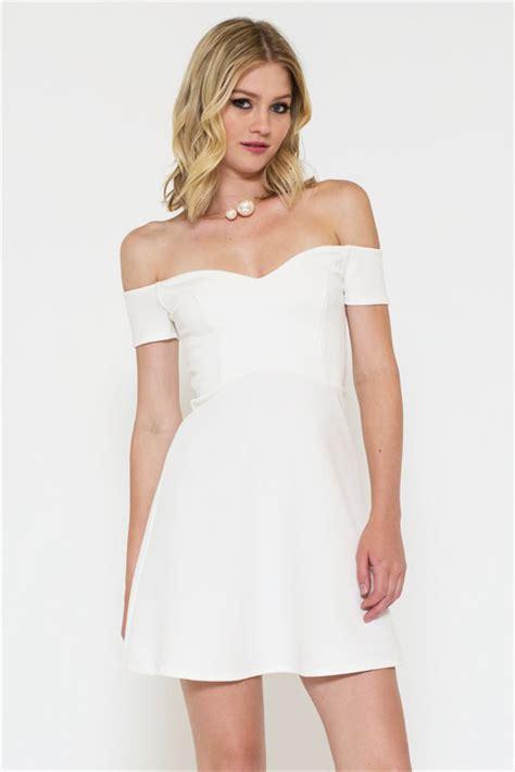 Flirtatious Dress flirtatious nature shoulder white skater dress sincerely sweet boutique
