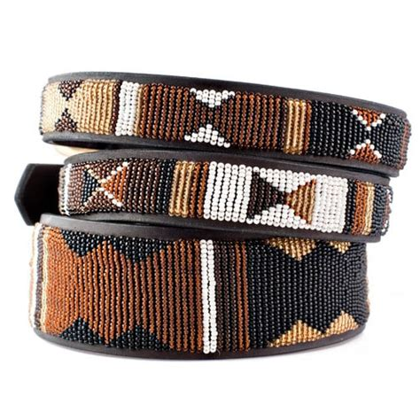 Handmade Pet Collars - earth beaded leather collar