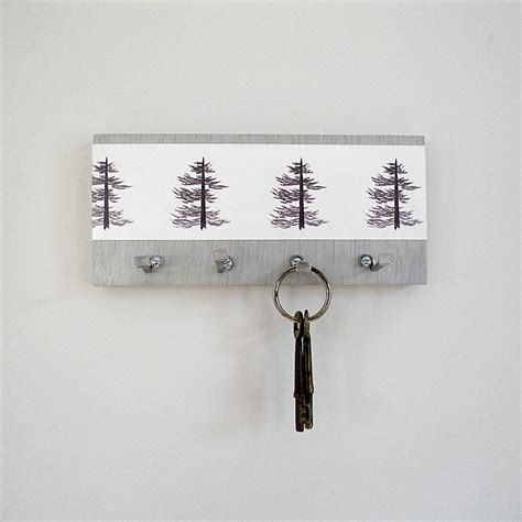 Key Holder Wall | pine key holder wall key hooks art print pine trees by