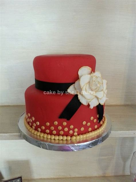 Home Decorating Ideas For Wedding by Red Black And Gold Fondant Birthday Cake Cakecentral Com