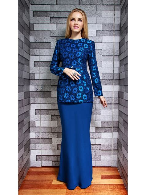 royal blue baju raya 2015 lace modern kurung in blue raya 2015 pinterest baju