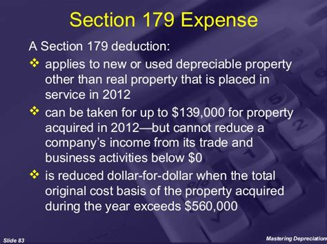 section 179 expenses mastering depreciation
