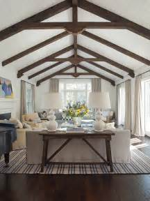 vaulted ceiling with exposed wood beams cottage living
