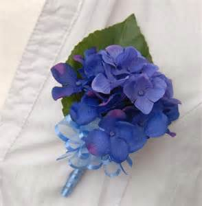 Royal Blue Corsage Silk Blue Hydrangea Wedding Buttonhole With Blue Bow Sarah S Flowers