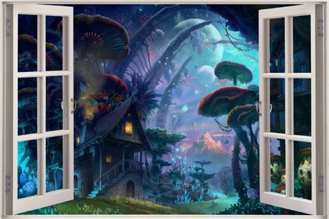 enchanted forest wall stickers 3d window view tale enchanted forest wall sticker decal ebay