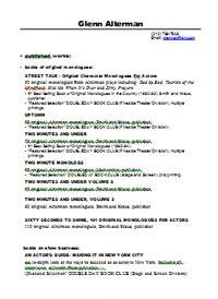 playwriting resume resume ideas