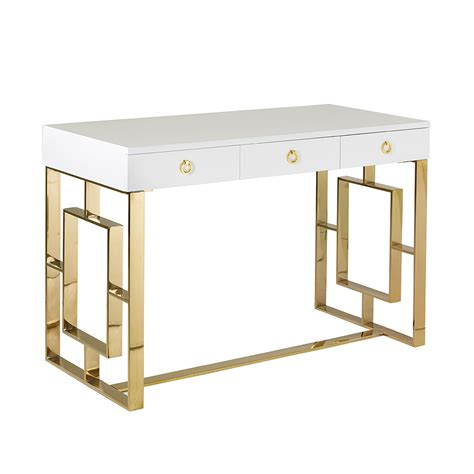 white and gold writing desk white and gold desk simple ikea hack one leggy gold desk
