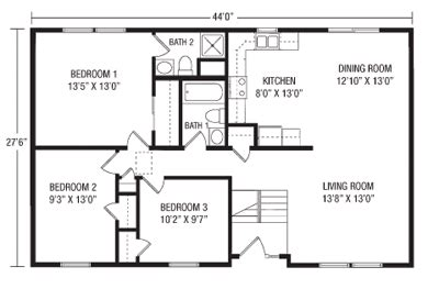Raised Homes Floor Plans | u and u modular homes raised ranch floorplans
