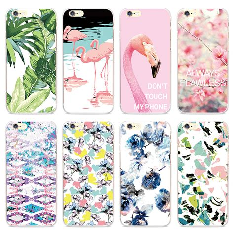 Pink Flamingo Iphone 5 5s 5c 6 6s 6 6s 7 7 Soft lovely pink flamingo bird floral pattern phone for