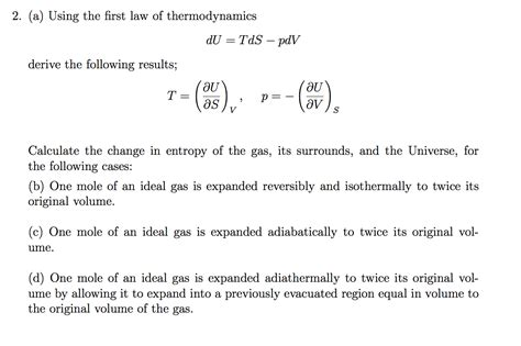 thermodynamics tutorial questions pdf solved using the first law of thermodynamics du tds p