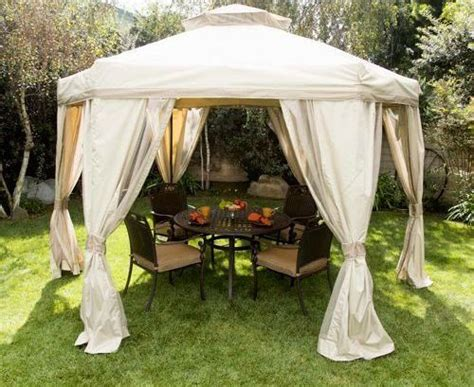 Outdoor Canopy Curtains Pagoda Style 12 X 12 Gazebo Outdoor Canopy In Beige With Screen Netting