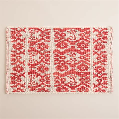 Coral Bath Rugs Coral Ikat Stripe Woven Bath Mat World Market