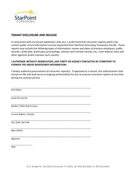 Tenant Background Check Form Authorization Form Disclosure And Release Tenant