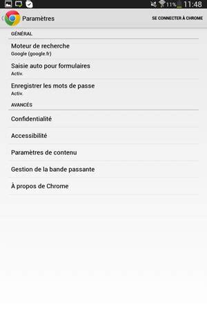 Vider le cache du navigateur mobile Chrome (Google) sous
