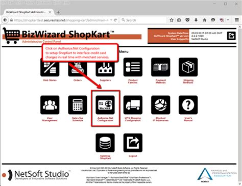 Sle Credit Card Number For Authorize Net Authorize Net Configuration Bizwizard Shopkart User S Guide Version 3