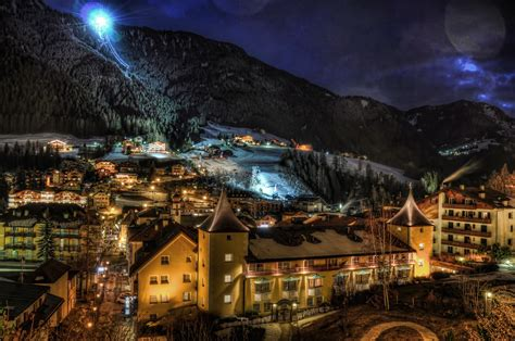 night lights in ortisei italy wallpapers and images