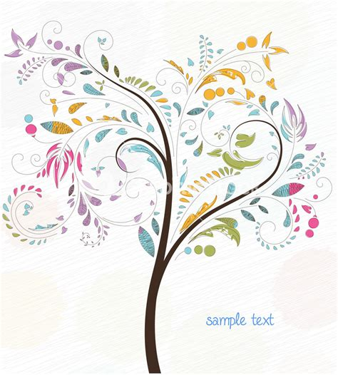 doodle free text option doodles background with colorful tree vector illustration