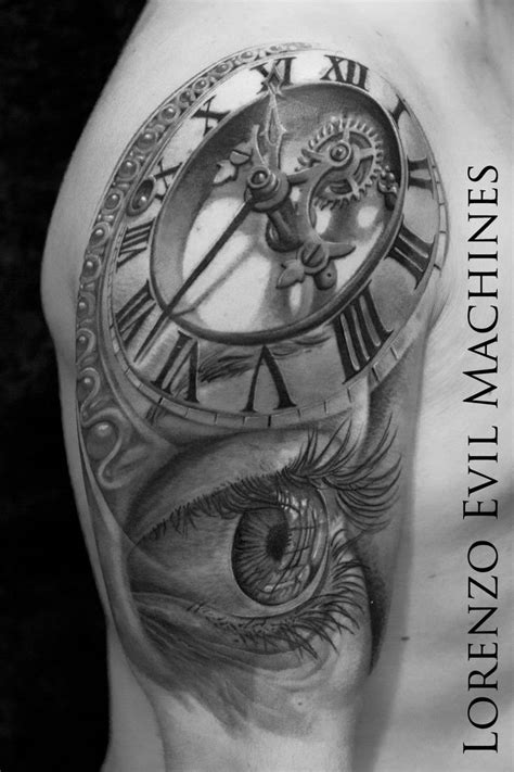 tattoo 3d roma watch and eye black and gray realistic tattoo evil
