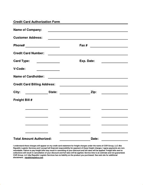 Credit Card Authorization Form Template Microsoft Word Ach Authorization Form Template