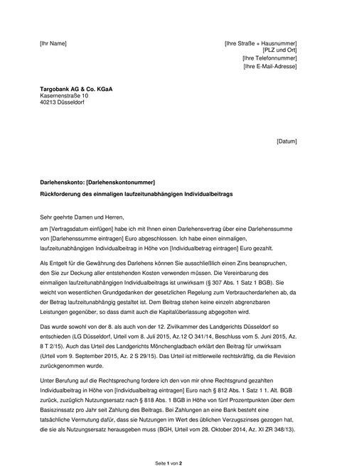 Bearbeitungsgebühr Kredit Urteil Musterbrief Unzul 228 Ssige Kreditgeb 252 Hren Erfahrungen Mit Der Targobank Finanztip