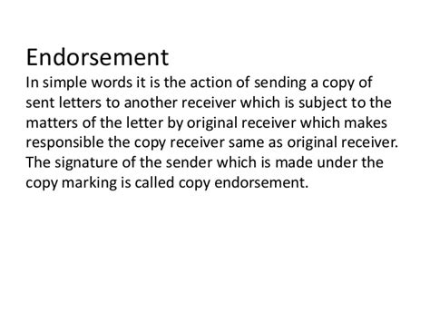 Endorsement Letter Phrases Types Of Business Correspondence