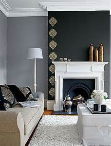 feature wall chimney breast with gold leaf stencil