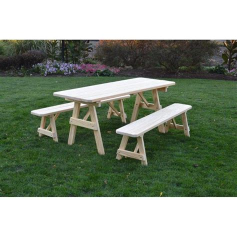 picnic table with detached benches pressure treated pine picnic table
